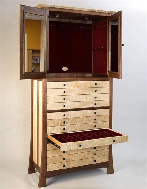 Jewelry Cabinets Furniture by Custom Made Walnut And Curly Maple Jewelry Cabinet By