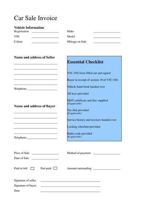 sample car sale invoice templates