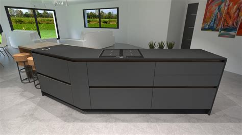 plan de travail cuisine en granit prix cuisine gris anthracite bois et cuivre avec îlot design