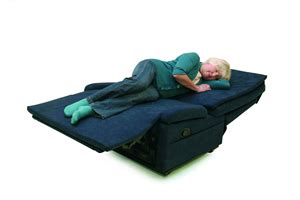 chair bed recliner to a flat sleeping platform