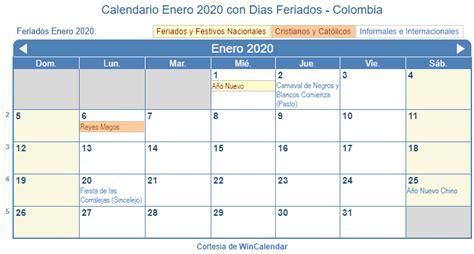 calendario enero imprimir colombia