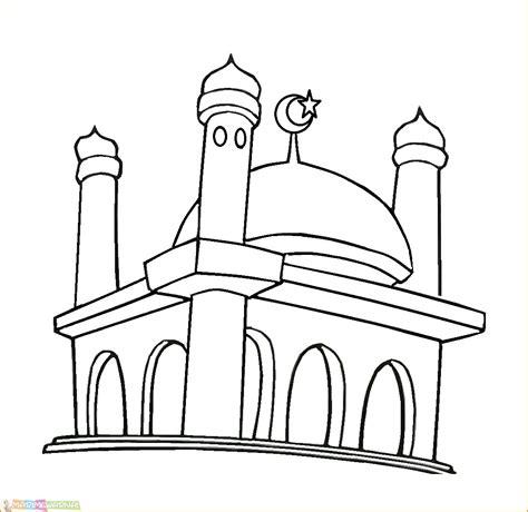 masjid animasi hitam putih