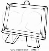 Easel Coloring Outline Painting Clipart Canvas Blank Class Illustration Royalty Rf Visekart Character Poster Clipartof sketch template