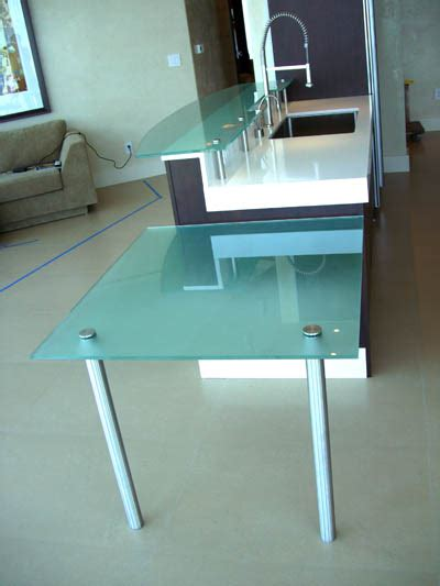 frosted glass desk top frosted glass counter top and breakfast table artistry