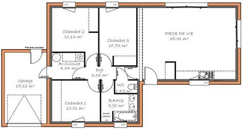 plan maison 3 chambres plain pied garage plan maison plain pied 3 chambre