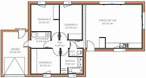 plan maison plain pied 3 chambre With lovely plan de maison 110m2 2 plan de maison carre