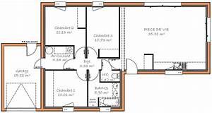 plan maison plain pied 3 chambre With plan de maison 100m2 3 plan de maison plain pied 3 chambres sans garage ideo