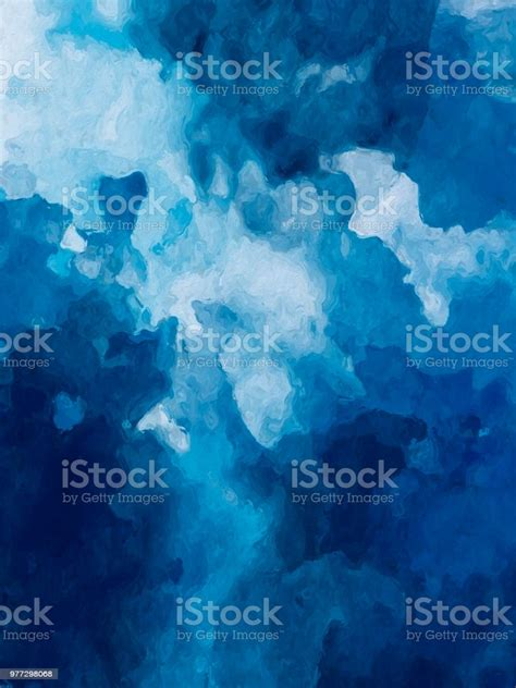 Abstract Art Dark Blue Watercolor Background Digital