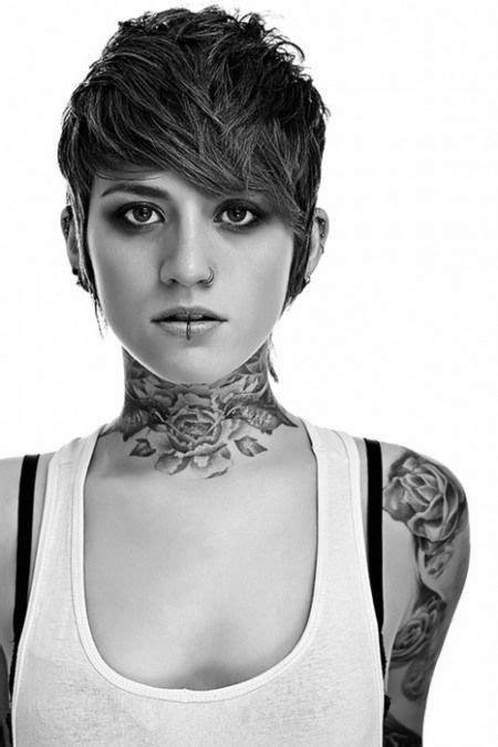 Neck tattoo and short hair!! | Throat tattoo, Girl tattoos, Beautiful tattoos