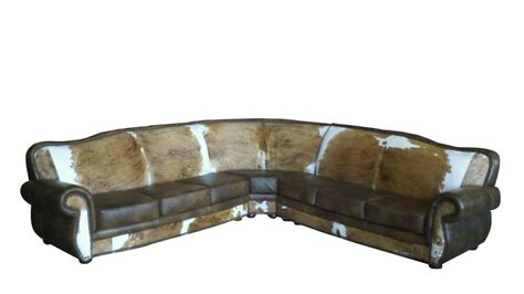 leather and cowhide sectional western style ebay - Cowhide Sectional