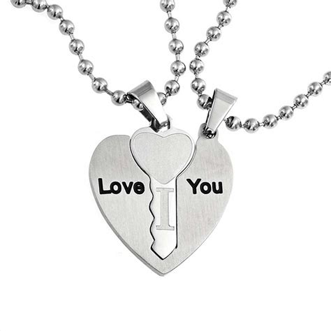 I Love You Couples Key To My Heart Pendant Set Stainless