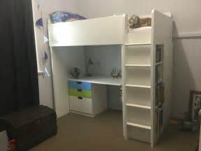 ikea stuva loft bed with desk drawers and cupboard aud