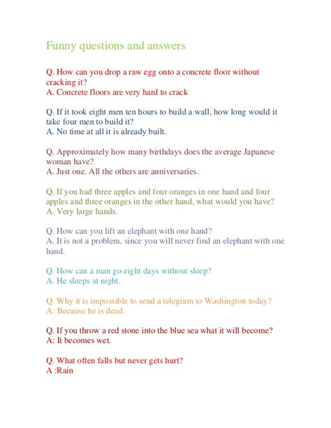 funny questions  answers