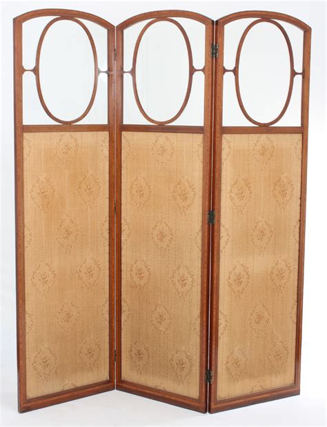 edwardian mahogany and satinwood 3 fold dressing screen c