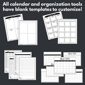 calendar printables teacher planner pages templates tpt