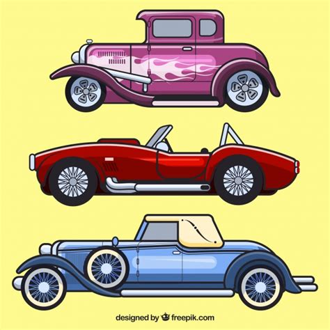 Set Of Vintage Car Profiles Vector