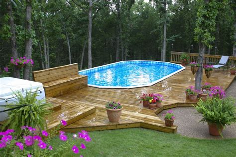 Above Ground Pool Decks Photos Landscaping by Pool Backyard Designs Awesome Wooden Style Deck
