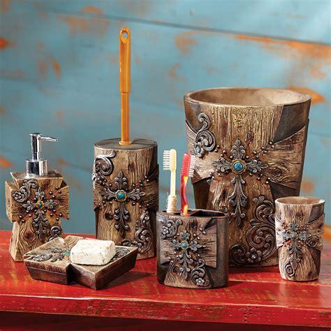 rustic cross bath accessories