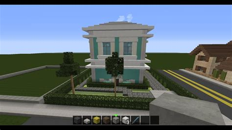 minecraft building series episode  cyan stained clay  quartz house  youtube