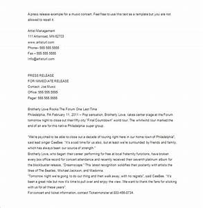 press release template 29 free word excel pdf format With concert press release template
