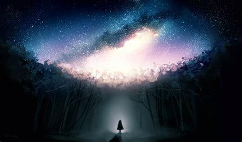 stars dark forest fantasy girl