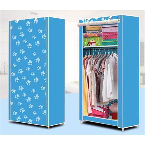lemari pakaian kain rakitan diy single slot 156 56 42 cm blue jakartanotebook