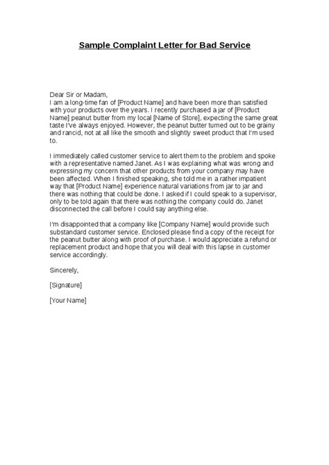 Complaint Letter Example Bad Service | Example Good Resume