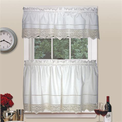 country valances for kitchen heirloom crochet valance timeless kitchen style from sears 6239