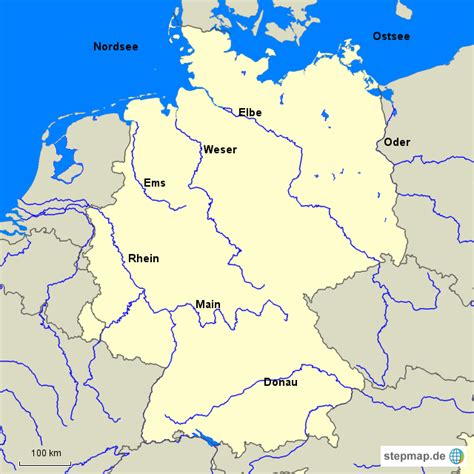 fluesse deutschland von pitufo landkarte fuer deutschland