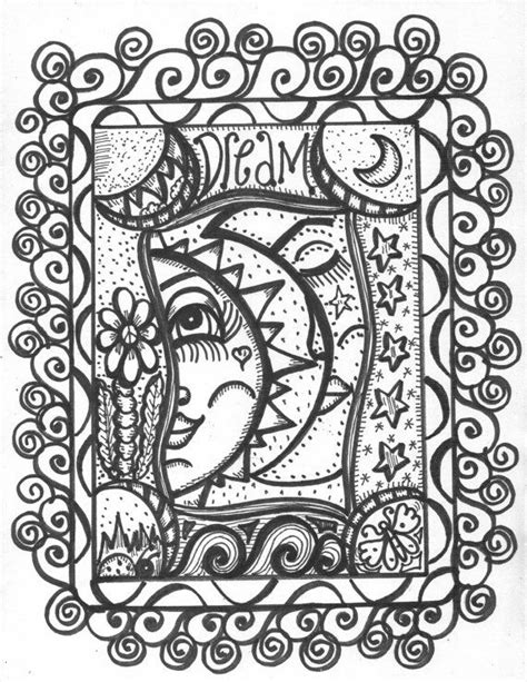Peace Love and Tattoos coloring book Hippie art by DawnCollinsArt | B. sun/moon | Tattoo