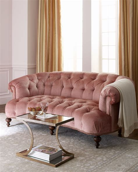 pink velvet settee hickory tannery brussel blush tufted sofa interior