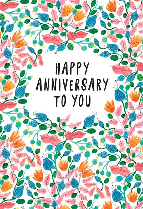 pink leaves happy anniversary card   island