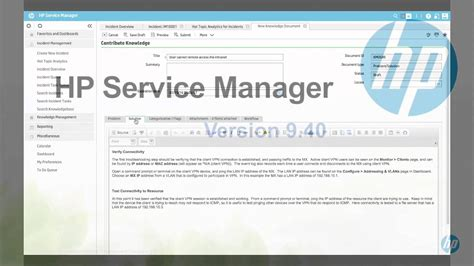 hp service manager  knowledge management youtube