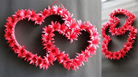 Beautiful pink heart shaped flowers broken heart with pale green leaves, this. DIY Paper Heart Wall Hanging - Easy Wall Decoration Ideas - Paper craft - YouTube