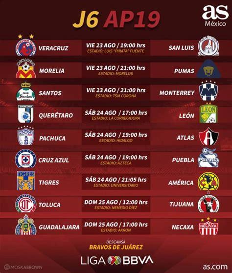 Fechas y horarios de la jornada 6 del Apertura 2019 de la ...