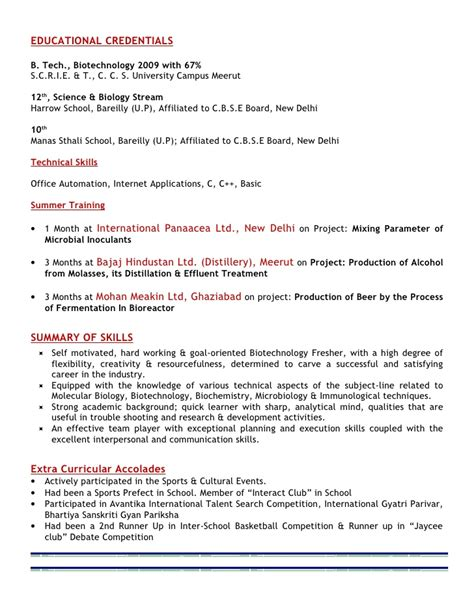 Resume Format For Biotechnology Freshers by Resume Abhishek Pathak
