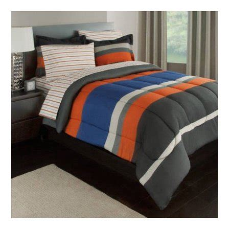 orange and gray comforter set gray orange blue stripes boys teen comforter set