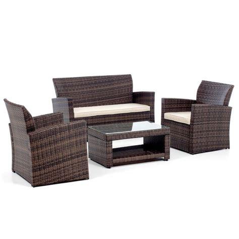 divanetto da esterno salotto da esterno in polyrattan con divano poltrone e