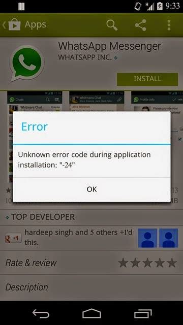 fix unknown error code during application installation 24 in play store