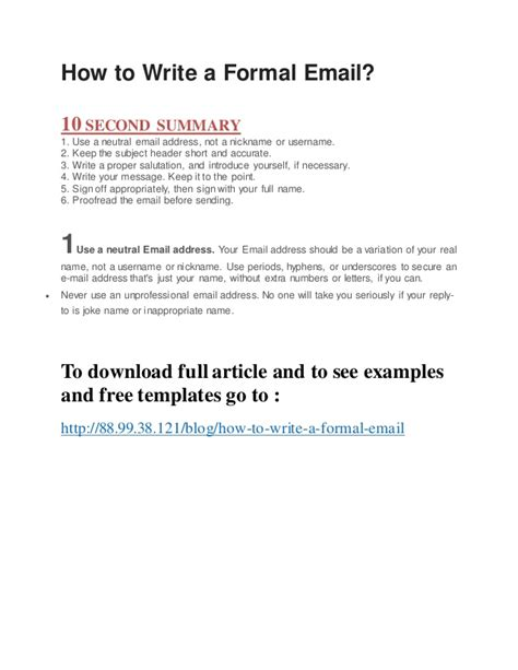 How To Write Email To Hr For Sending Resume by How To Write A Formal Email