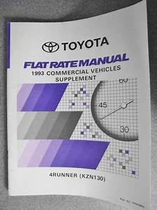 Toyota 4runner Flat Rate Manual Supplement 1993 Commercial