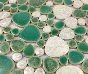 green tile kitchen backsplash glazed porcelain wall tiles pebble mosaic ppmt059 green