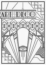 Coloring Deco Pages Adults Poster Adult Sheets Patterns Nouveau 1920s Colouring Printable Getcolorings Everfreecoloring sketch template