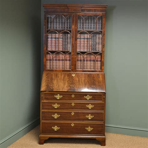 bureau bookcase superb quality edwardian figured mahogany antique bureau