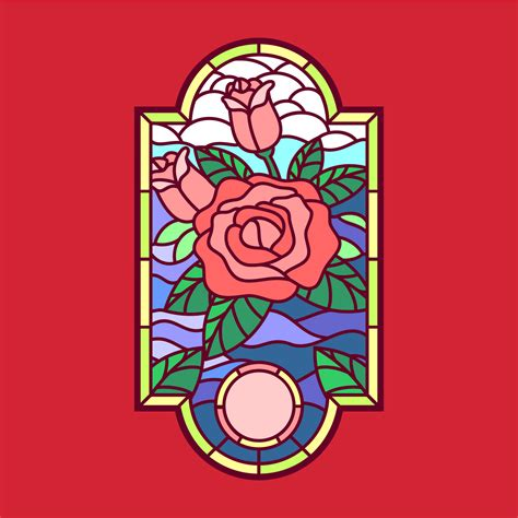 rose stained glass window vector   vectors