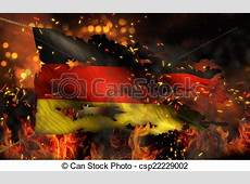 Germany burning fire flag war conflict night 3d
