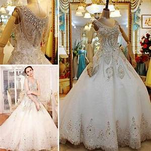custom made 2014 luxurious a line beaded crystal v neck With plus size wedding dresses with long trains