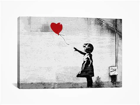 banksy girl   balloon stretched canvas art