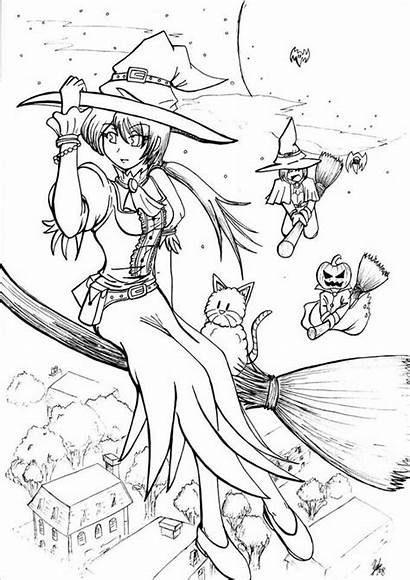 Coloring Witch Pages Halloween Lineart Deviantart Anime
