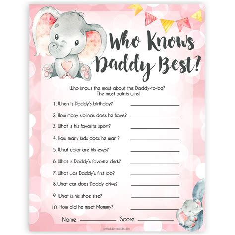 daddy  game pink elephant printable baby
